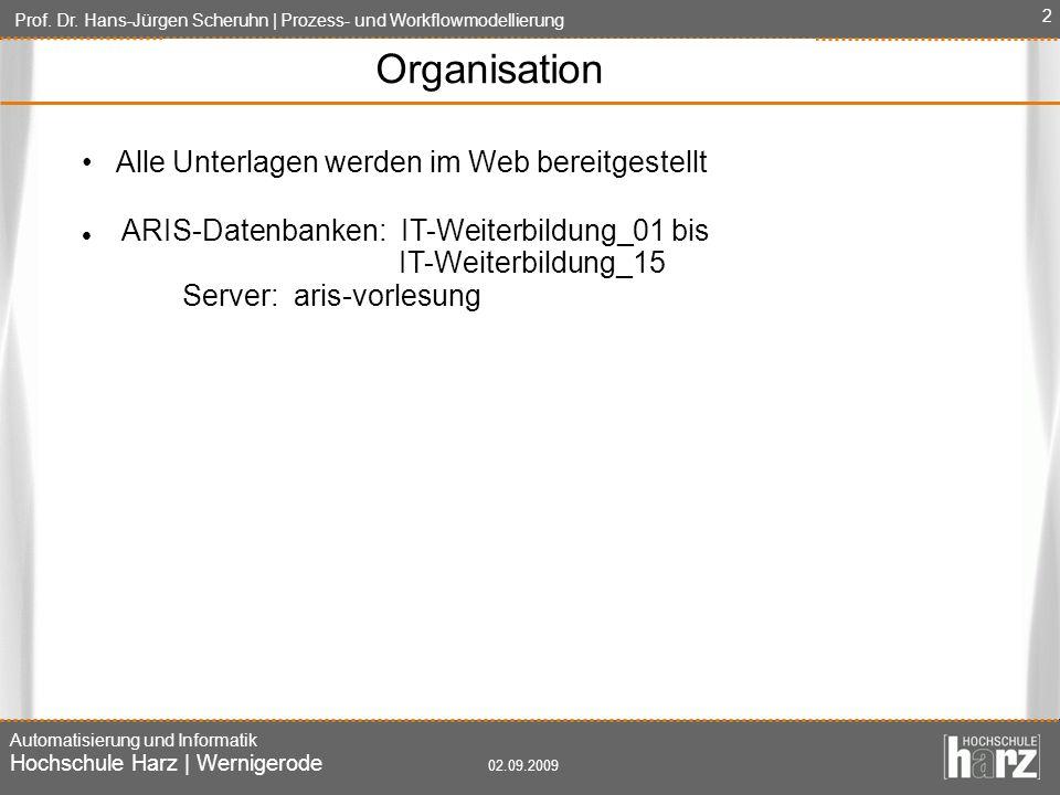 Organisation • Alle Unterlagen werden im Web bereitgestellt