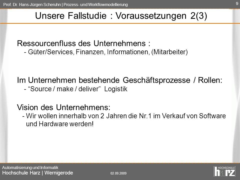 Unsere Fallstudie : Voraussetzungen 2(3)