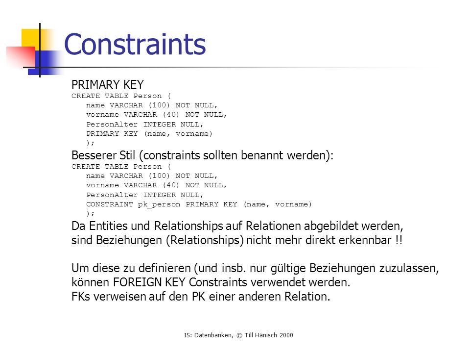 Constraints PRIMARY KEY