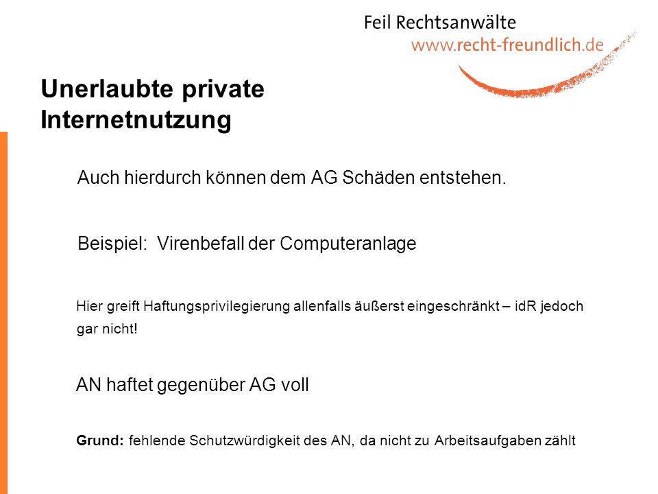 Unerlaubte private Internetnutzung