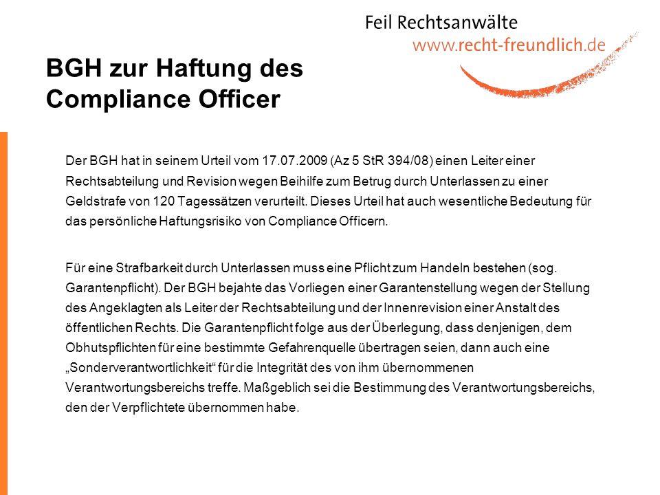 BGH zur Haftung des Compliance Officer