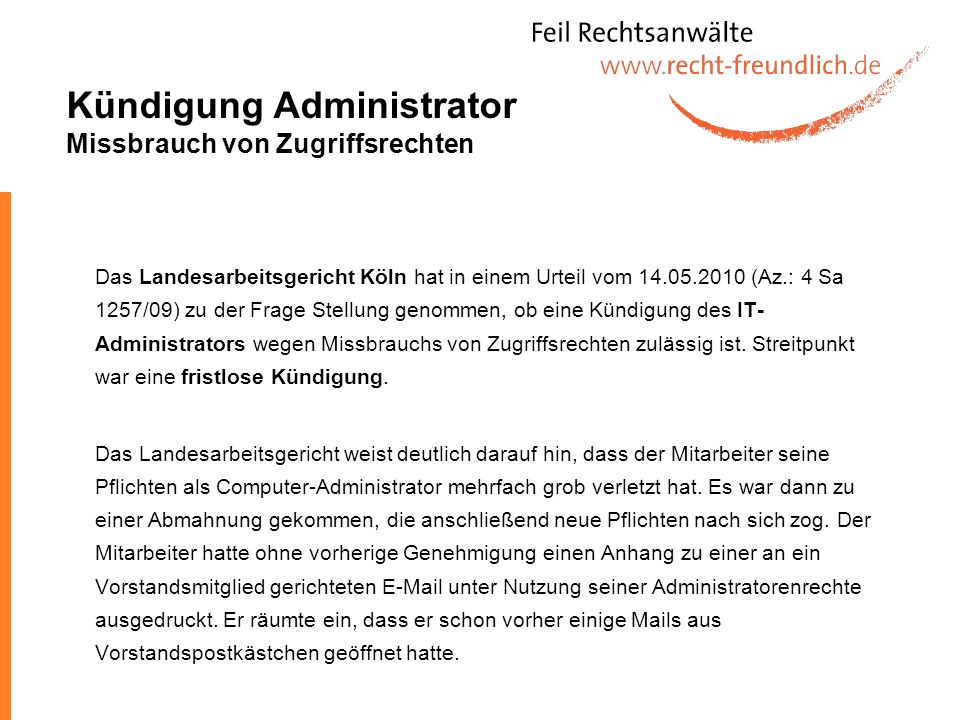 Kündigung Administrator Missbrauch von Zugriffsrechten