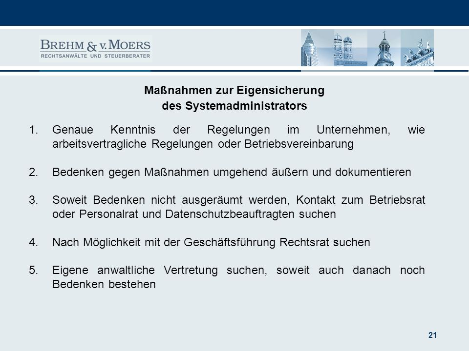 Maßnahmen zur Eigensicherung des Systemadministrators