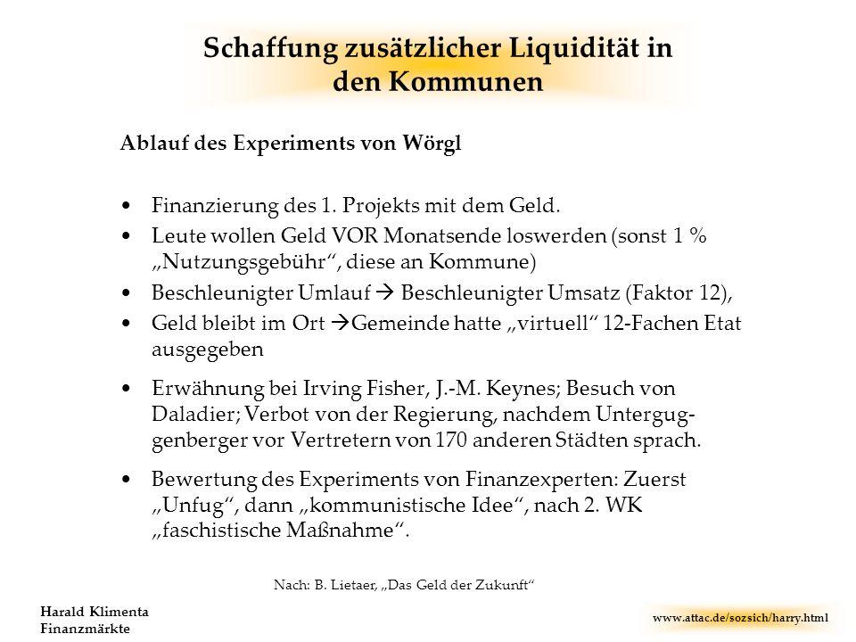 Schaffung zusätzlicher Liquidität in den Kommunen