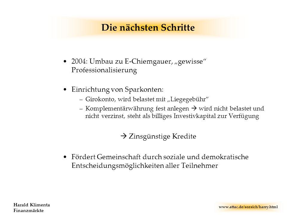 """Die nächsten Schritte 2004: Umbau zu E-Chiemgauer, """"gewisse Professionalisierung. Einrichtung von Sparkonten:"""