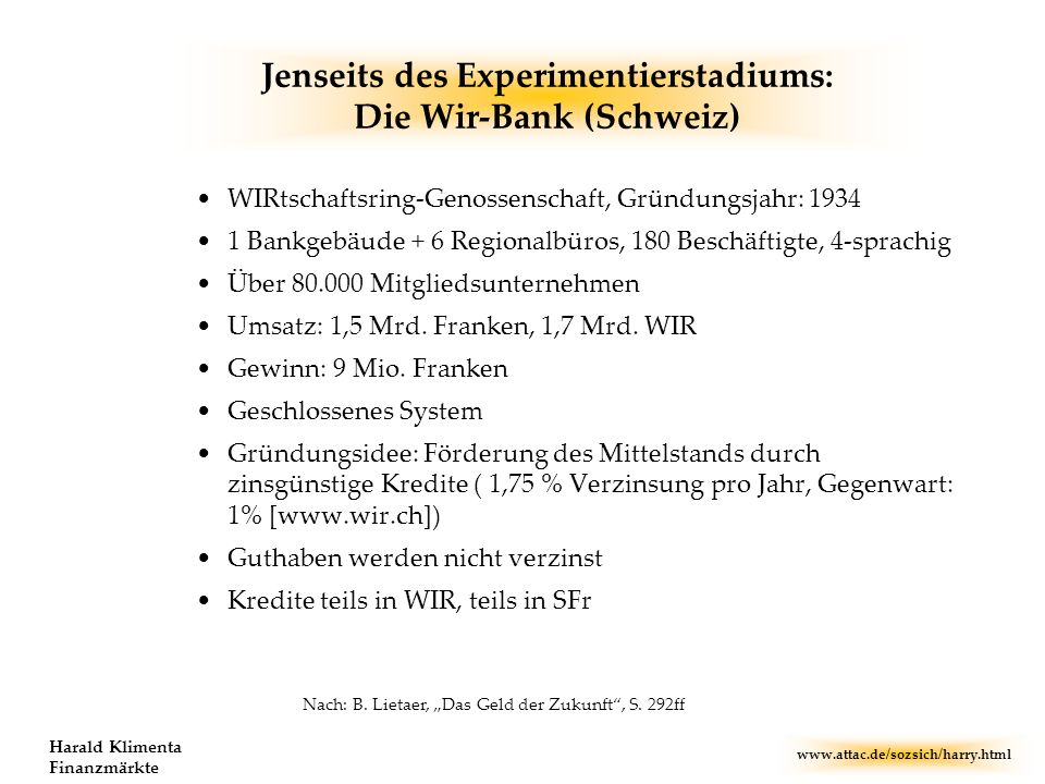 Jenseits des Experimentierstadiums: Die Wir-Bank (Schweiz)