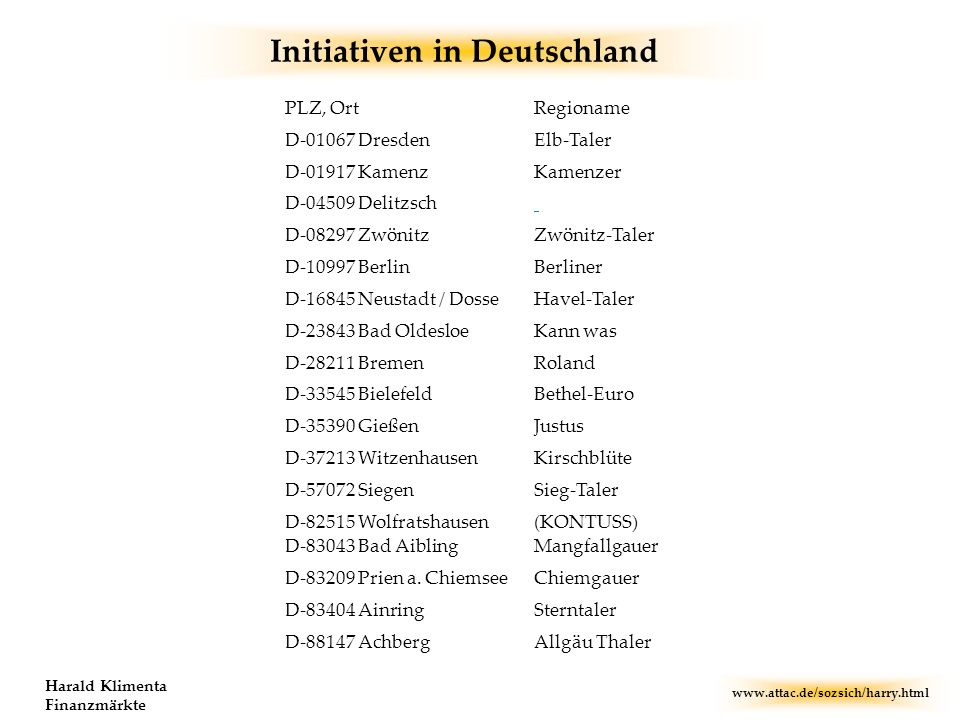 Initiativen in Deutschland