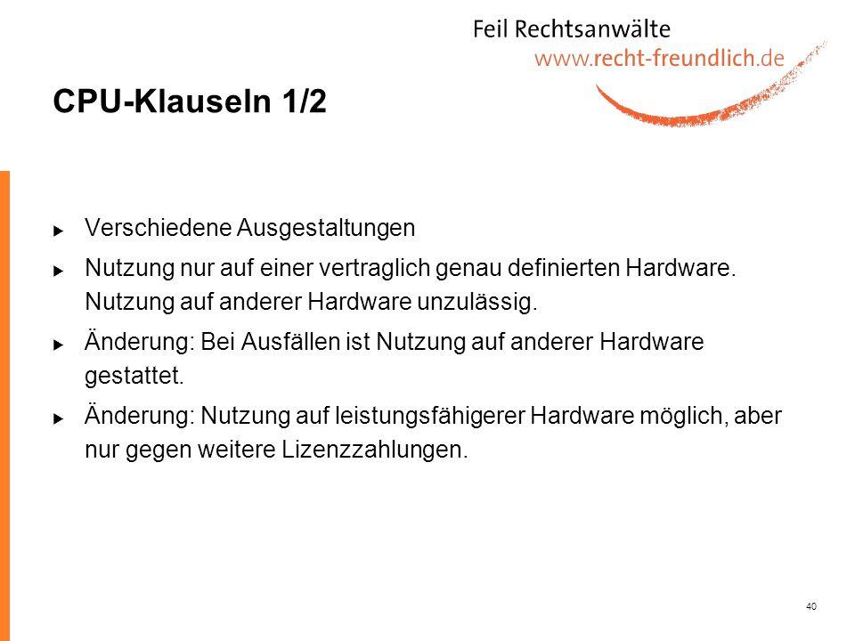 CPU-Klauseln 1/2 Verschiedene Ausgestaltungen