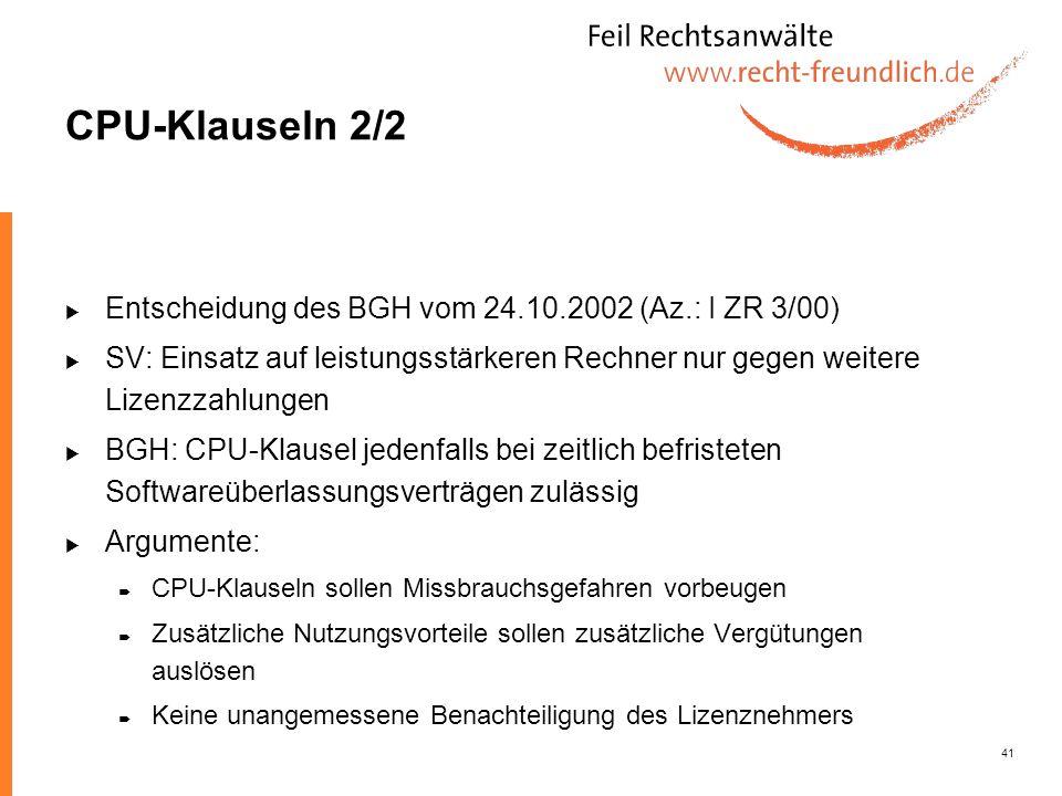 CPU-Klauseln 2/2 Entscheidung des BGH vom 24.10.2002 (Az.: I ZR 3/00)