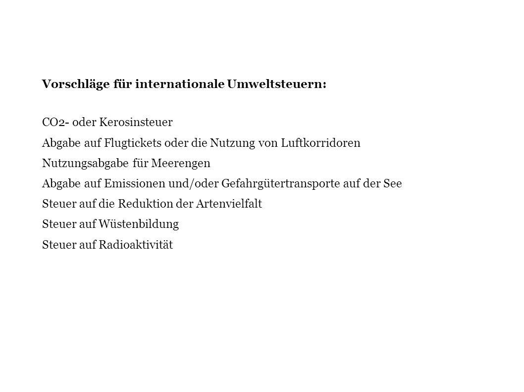 Vorschläge für internationale Umweltsteuern: