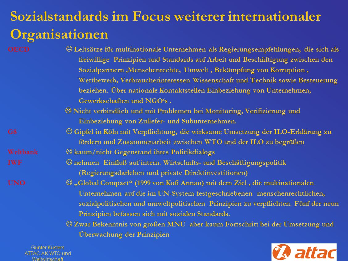 Sozialstandards im Focus weiterer internationaler Organisationen