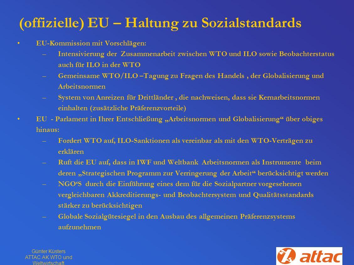 (offizielle) EU – Haltung zu Sozialstandards