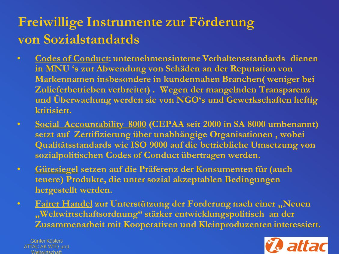 Freiwillige Instrumente zur Förderung von Sozialstandards