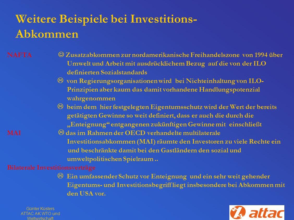 Weitere Beispiele bei Investitions-Abkommen
