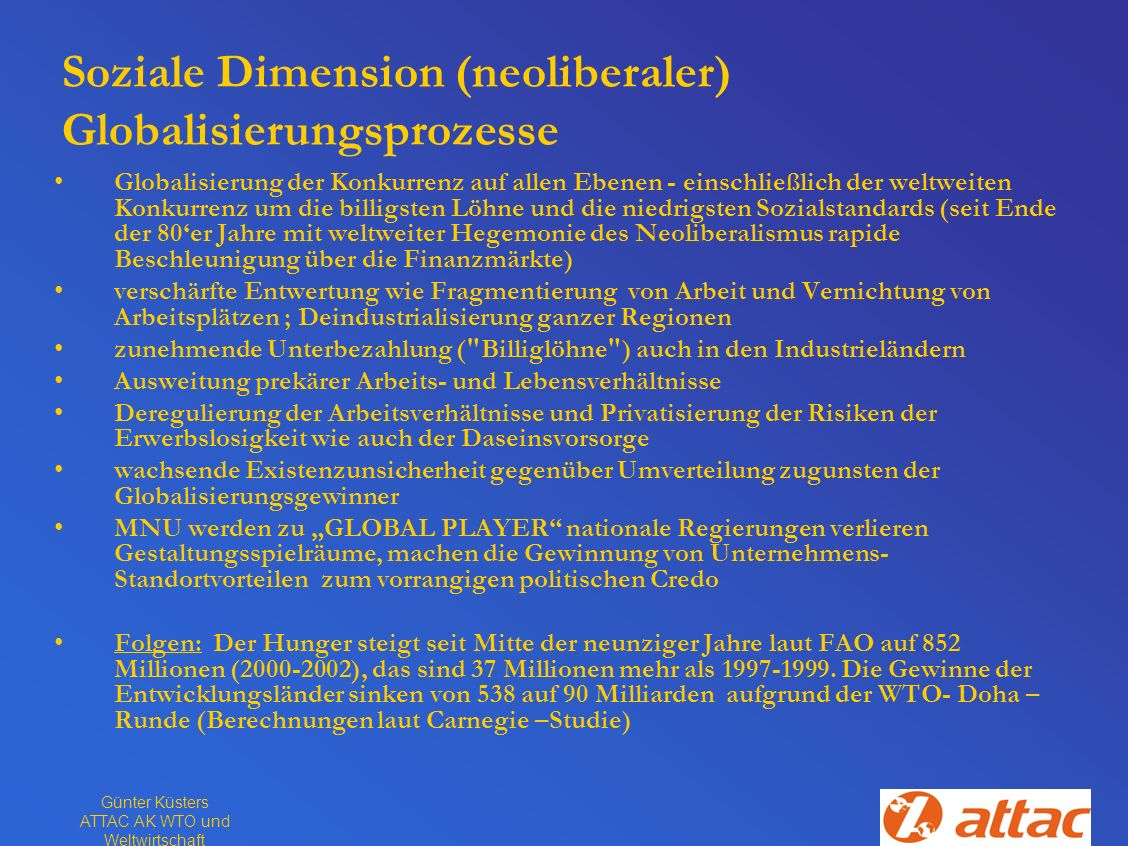 Soziale Dimension (neoliberaler) Globalisierungsprozesse