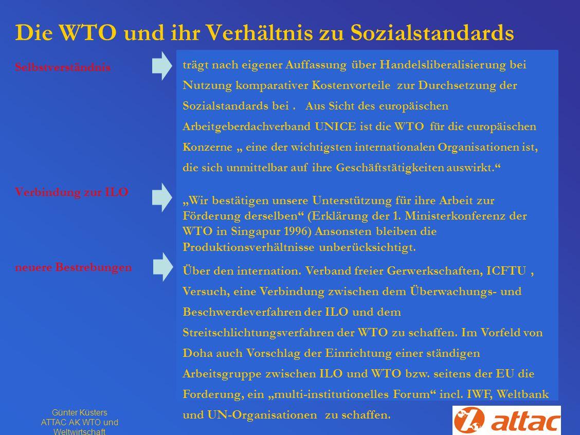 Die WTO und ihr Verhältnis zu Sozialstandards