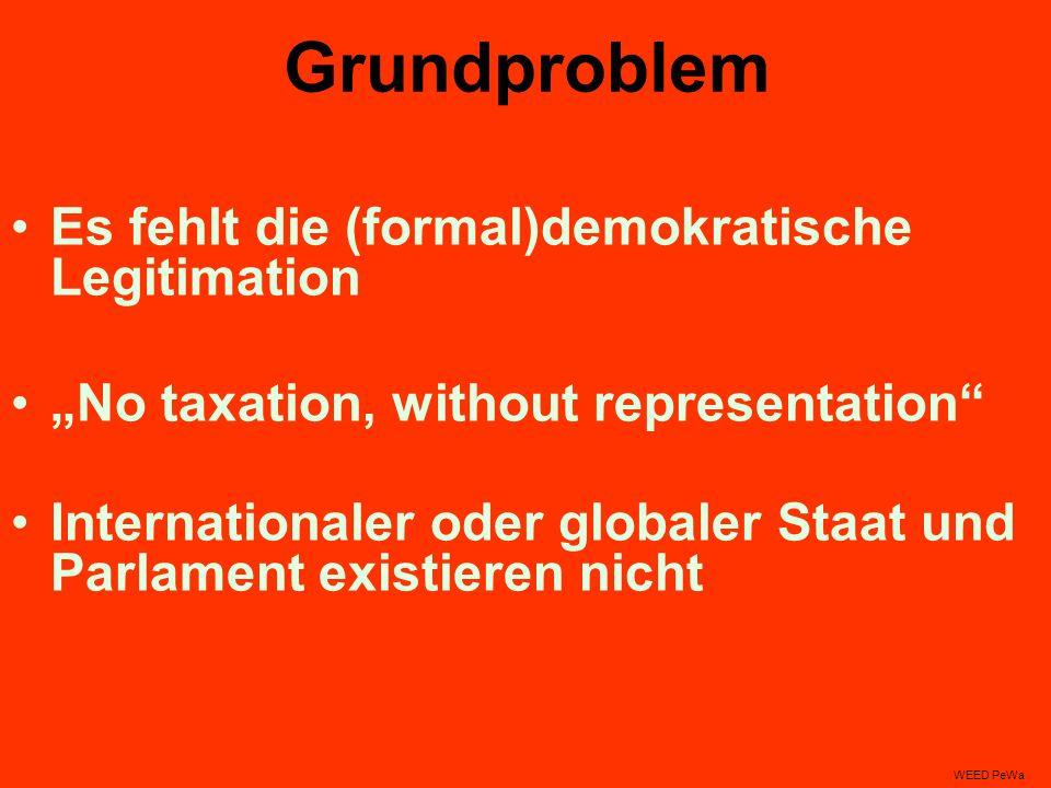 Grundproblem Es fehlt die (formal)demokratische Legitimation