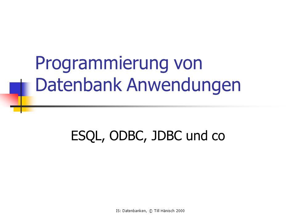 Programmierung von Datenbank Anwendungen