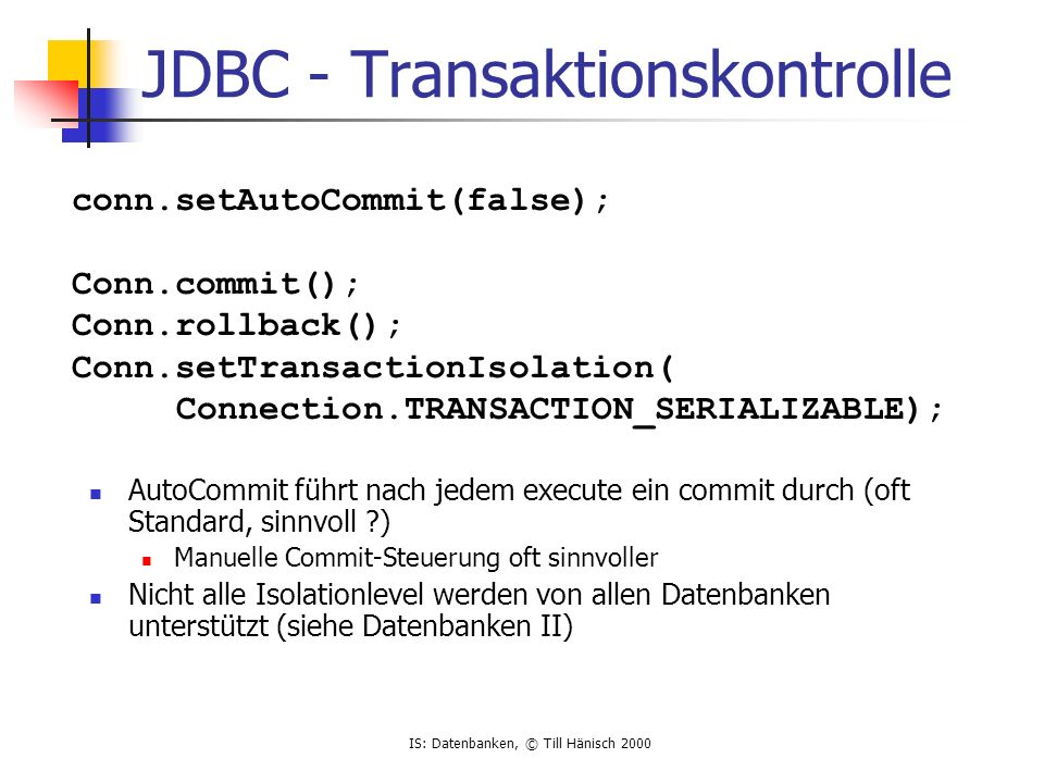 JDBC - Transaktionskontrolle