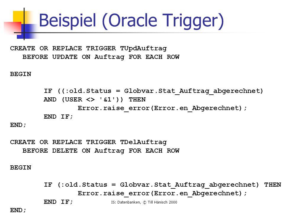 Beispiel (Oracle Trigger)