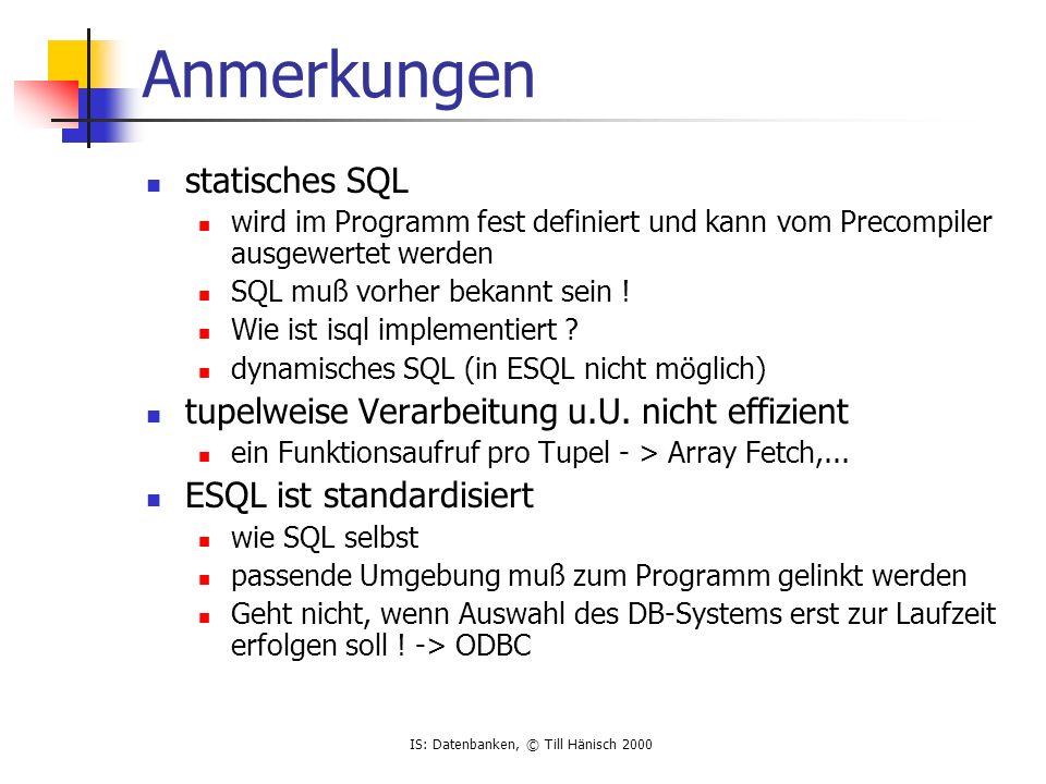 Anmerkungen statisches SQL