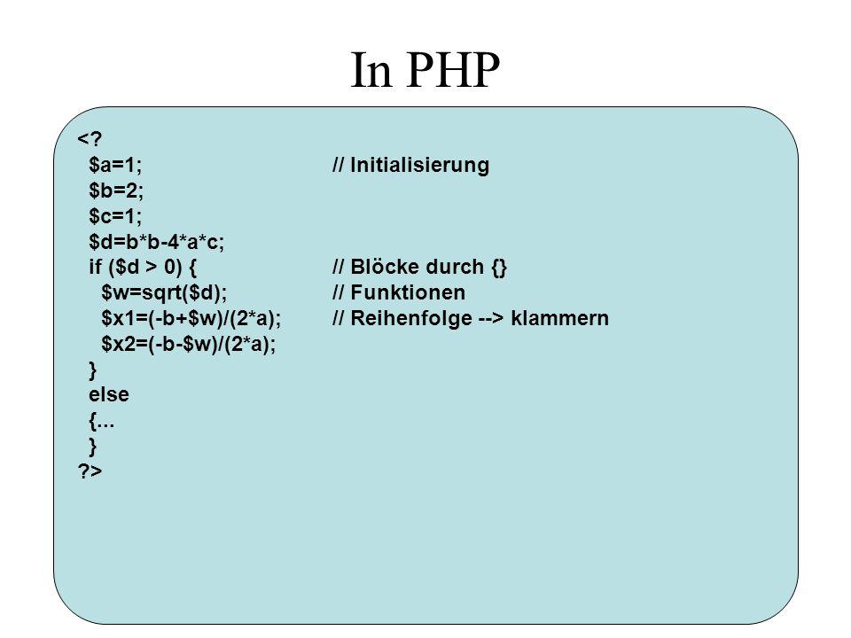 In PHP < $a=1; // Initialisierung $b=2; $c=1; $d=b*b-4*a*c;