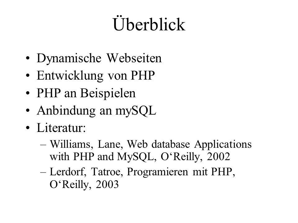 Überblick Dynamische Webseiten Entwicklung von PHP PHP an Beispielen