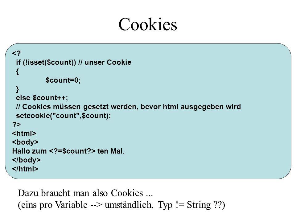 Cookies Dazu braucht man also Cookies ...