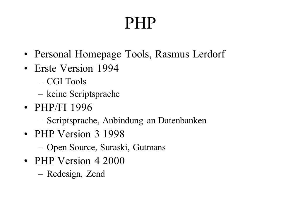 PHP Personal Homepage Tools, Rasmus Lerdorf Erste Version 1994