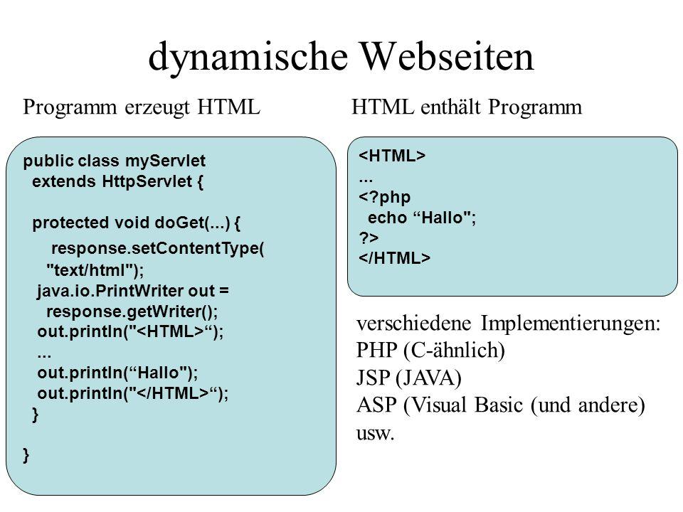 dynamische Webseiten Programm erzeugt HTML HTML enthält Programm