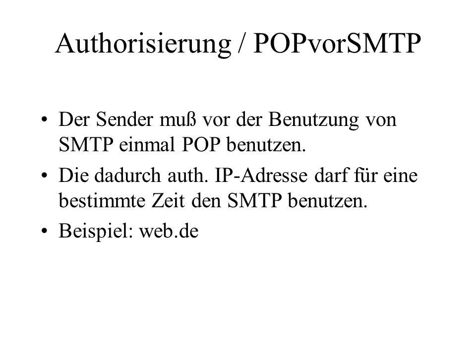 Authorisierung / POPvorSMTP