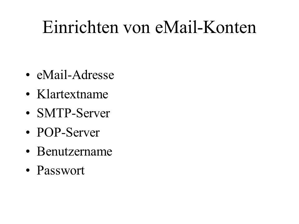 Einrichten von eMail-Konten