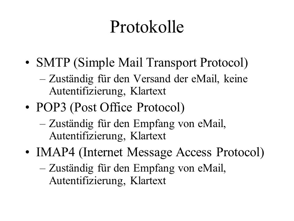 Protokolle SMTP (Simple Mail Transport Protocol)