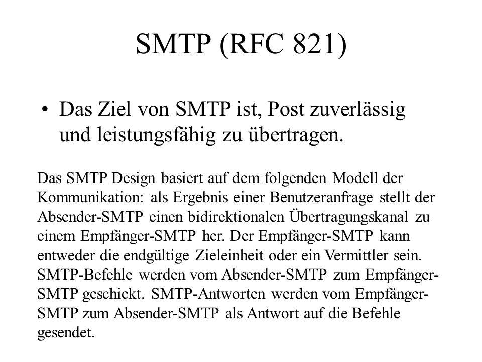 SMTP (RFC 821) Das Ziel von SMTP ist, Post zuverlässig und leistungsfähig zu übertragen.