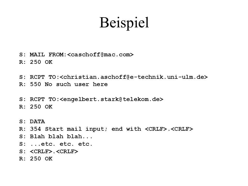 Beispiel S: MAIL FROM:<caschoff@mac.com> R: 250 OK