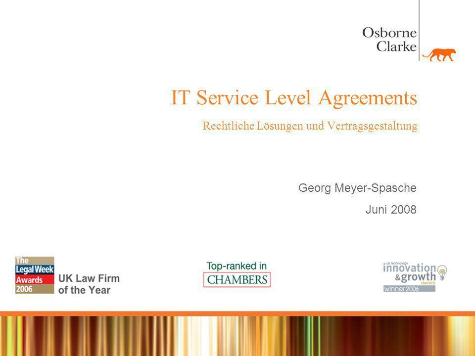 IT Service Level Agreements Rechtliche Lösungen und Vertragsgestaltung