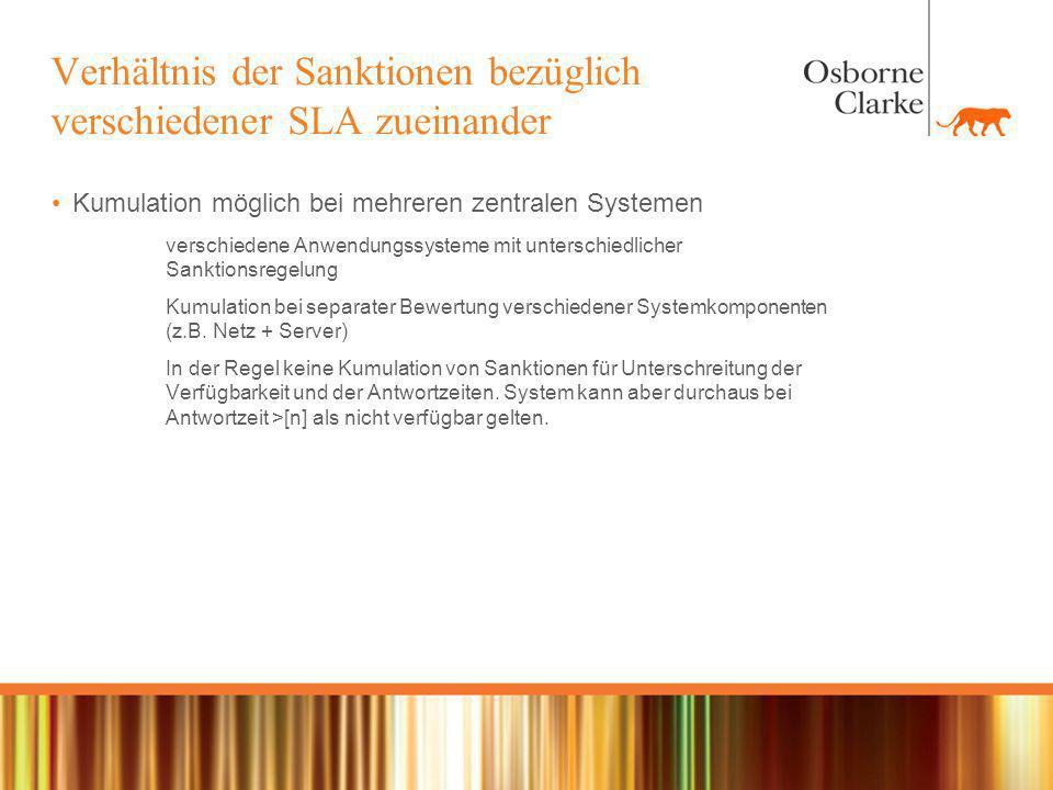 Verhältnis der Sanktionen bezüglich verschiedener SLA zueinander