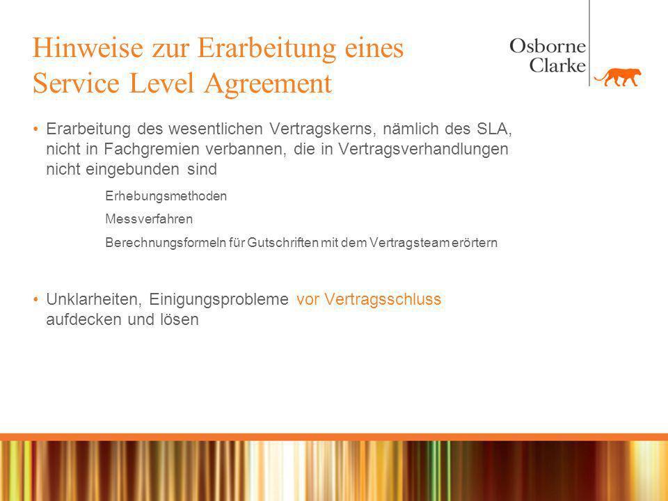 Hinweise zur Erarbeitung eines Service Level Agreement
