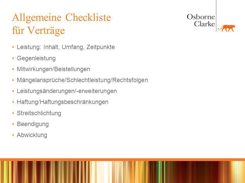 Allgemeine Checkliste für Verträge