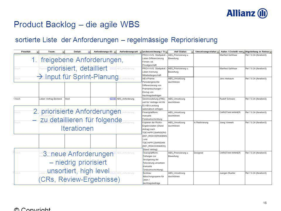 Product Backlog – die agile WBS