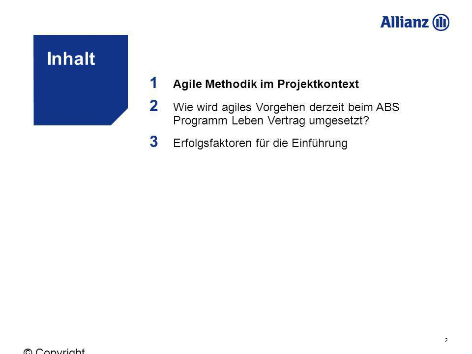 Inhalt 1 2 3 Agile Methodik im Projektkontext