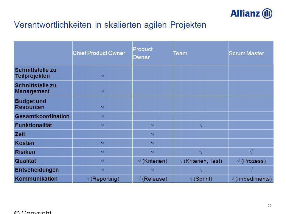 Verantwortlichkeiten in skalierten agilen Projekten