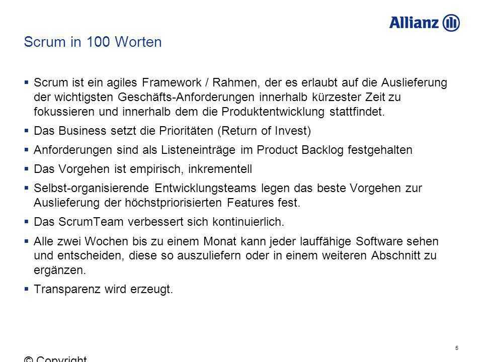 Scrum in 100 Worten