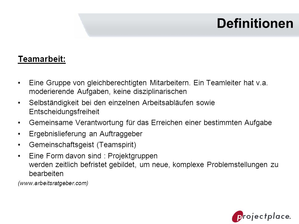 Definitionen Teamarbeit: