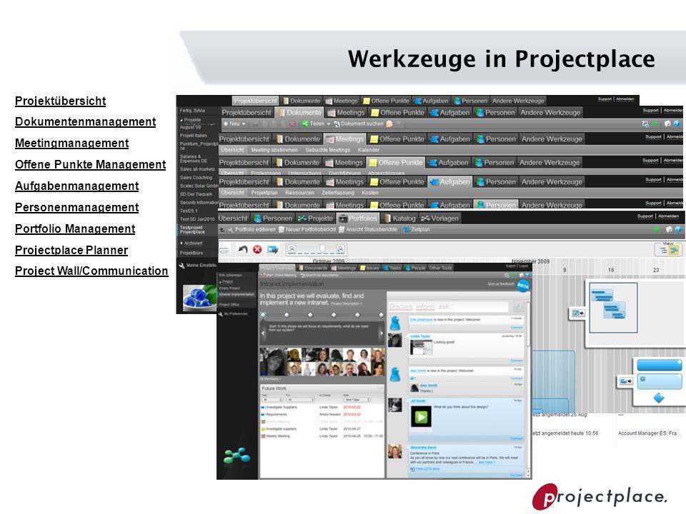 Werkzeuge in Projectplace