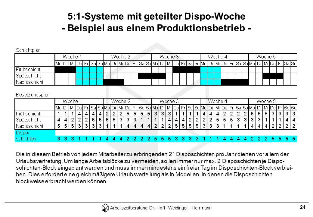 5:1-Systeme mit geteilter Dispo-Woche