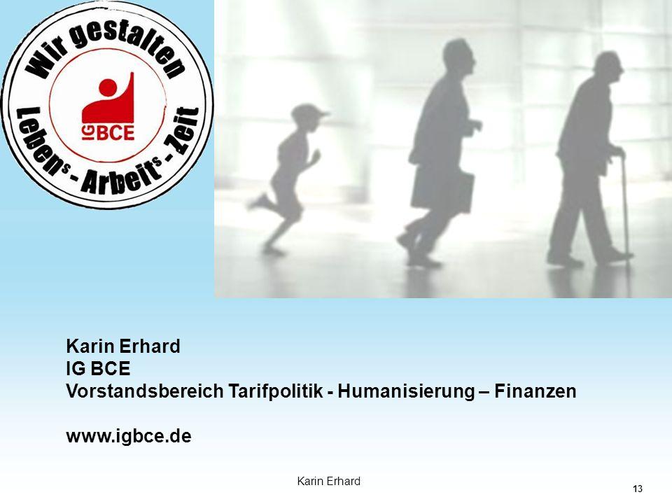Karin Erhard IG BCE Vorstandsbereich Tarifpolitik - Humanisierung – Finanzen www.igbce.de