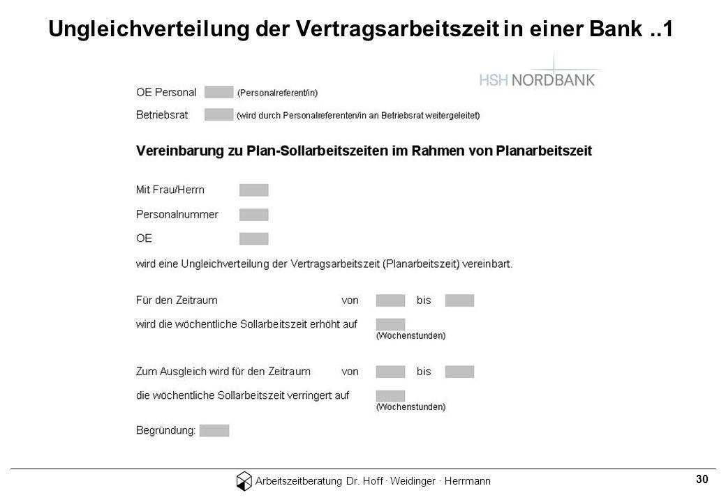 Ungleichverteilung der Vertragsarbeitszeit in einer Bank ..1