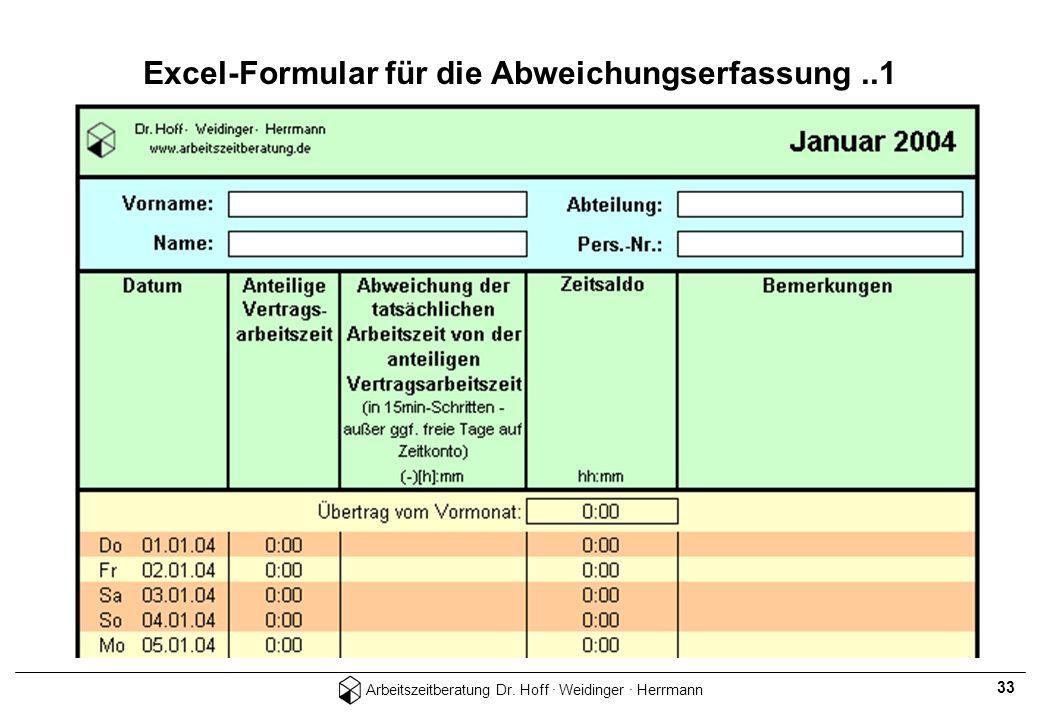 Excel-Formular für die Abweichungserfassung ..1