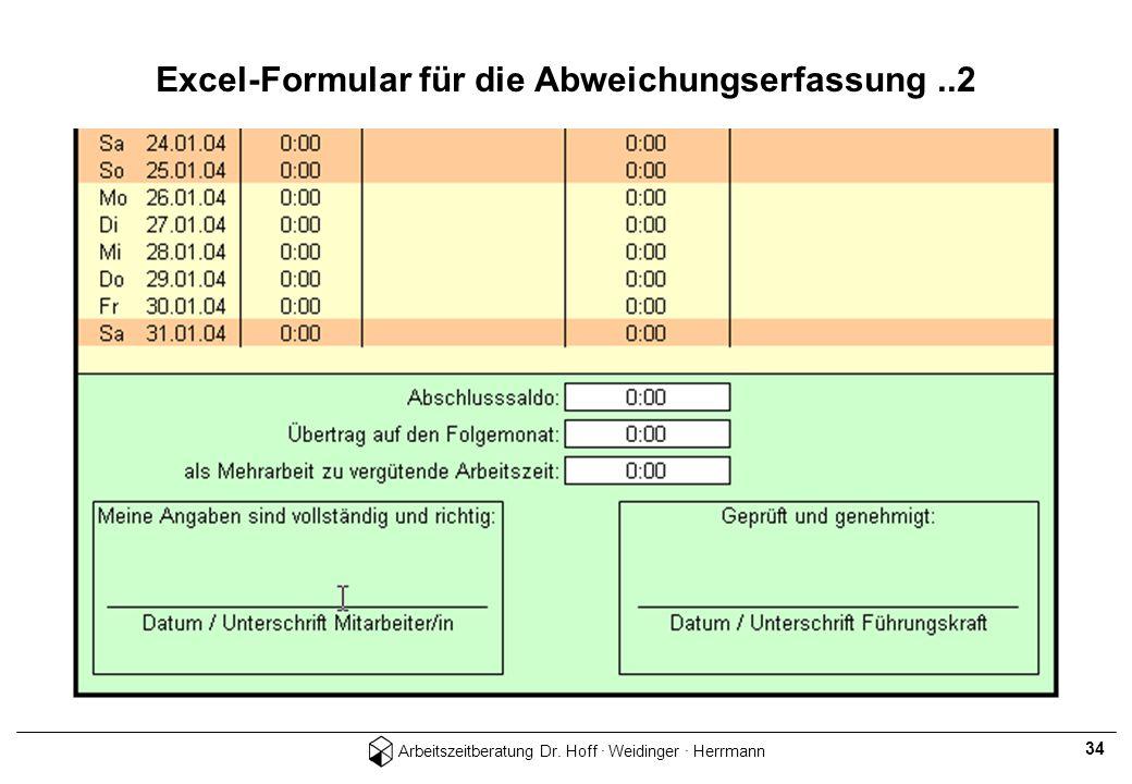 Excel-Formular für die Abweichungserfassung ..2
